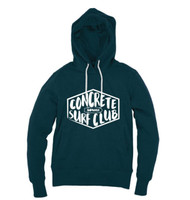 Kahuna Mens Hoodie Pullover Concrete Surf Club Design in Denim Blue.