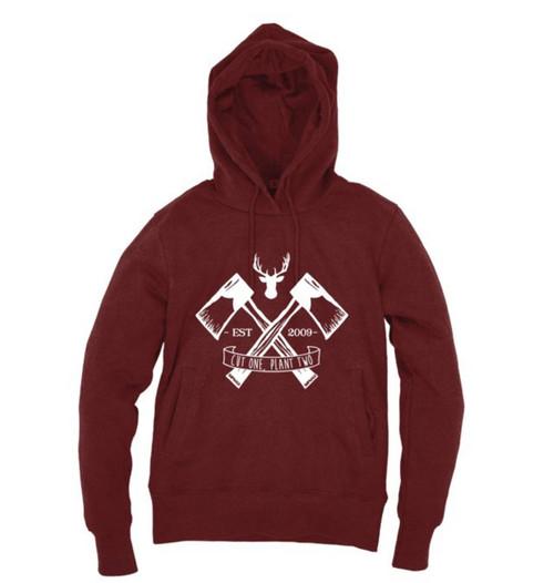 Kahuna Mens Hoodie Lumberjack Pullover Design in Red Wine.