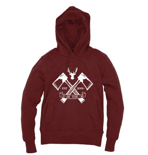 Kahuna Mens Hoodie Lumberjack Pullover Design in Red Wine.