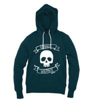 Kahuna  Mens Hoodie Pullover Wolfpack Design in Denim Blue.