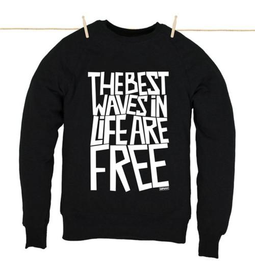 Kahuna Mens Sweat Shirt The Best Waves Design in Black.