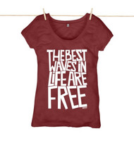Kahuna The Best Waves Womens Top. Red Wine.