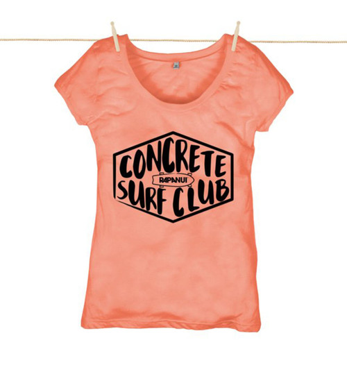 Kahuna  Womens Top Concrete Surf Club Design in Coral.