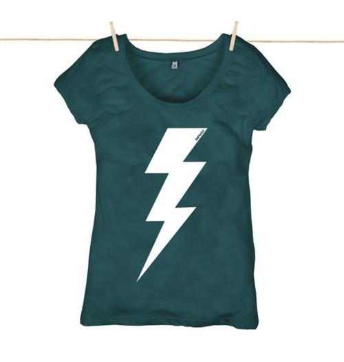 Kahuna Womens Top Lightning Bolt ll Design in Denim Blue.