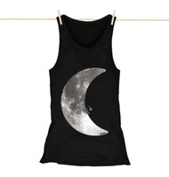 Kahuna Womens Vest Top Moonlight Surf Design in Black.