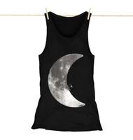 Kahuna Womens Vest Top Moonlight Surf Design in Black.