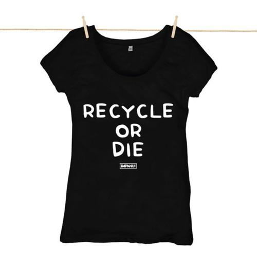 Kahuna Womens Top Recycle Or Die Design in Black.