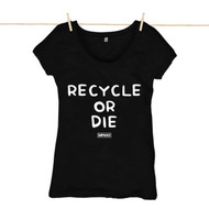 Kahuna Womens Top Recycle Or Die Design in Black.
