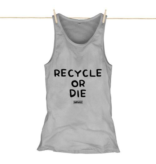 Kahuna Womens Vest Top Recycle Or Die Design in Athletic Grey.