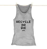 Kahuna Womens Vest Top Recycle Or Die Design in Athletic Grey.
