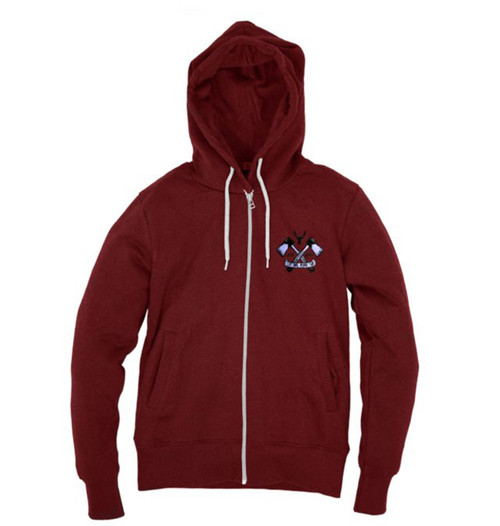Kahuna Womens Hoodie Zip Lumberjack Design in Red Wine.