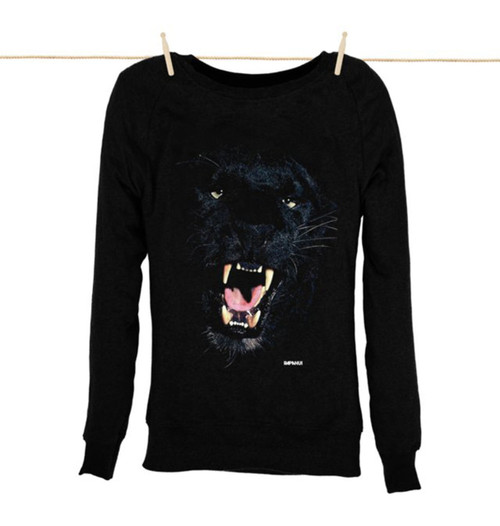 Kahuna Womens Sweat Shirt Panther Design in Black.