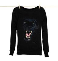 Kahuna Womens Sweat Shirt Panther Design in Black.