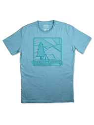 Silverstick Men's T-Shirt Great Outdoors Design in Stratosphere Blue.  Front View.