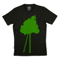 Silverstick Men's T-Shirt Tree House Design in Olive Green.  Front view.