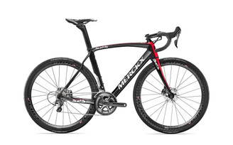 Eddy Merckx 525 Endurance Disc Shimano STI equipped Carbon Bicycle, Black Anthracite & Red Gloss Accents - Build It Your Way