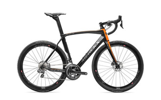 Eddy Merckx 525 Endurance Disc Shimano STI equipped Carbon Bicycle, Black Anthracite & Orange Satin Accents - Build It Your Way
