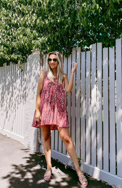 Cali Sleeveless Mini Dress - Pink Snake