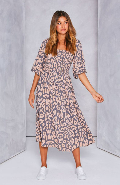 Devon Shirred Maxi Dress - Grey Blush Leopard