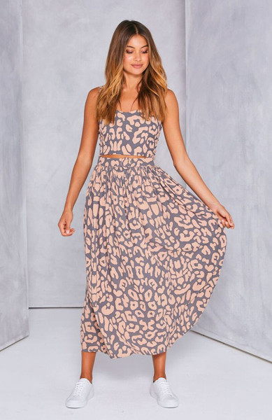 Herve belted Maxi Skirt - Grey Blush Leopard