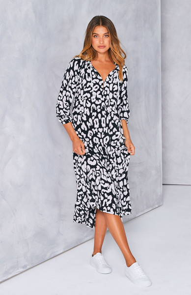 Cali Rope Maxi Dress - Black Leopard