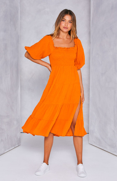 Indie Shirred Midi Dress - Orange