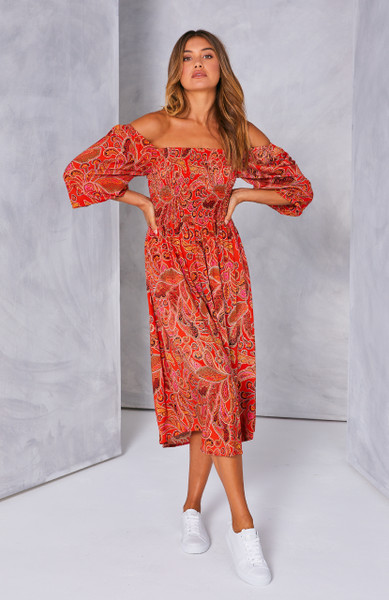 Devon Shirred Maxi Dress - Red Persian Floral