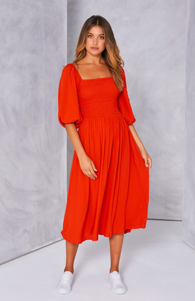 Devon Shirred Maxi Dress - Red