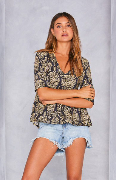 Farrah Short Sleeve Blouse - Charcoal Batik