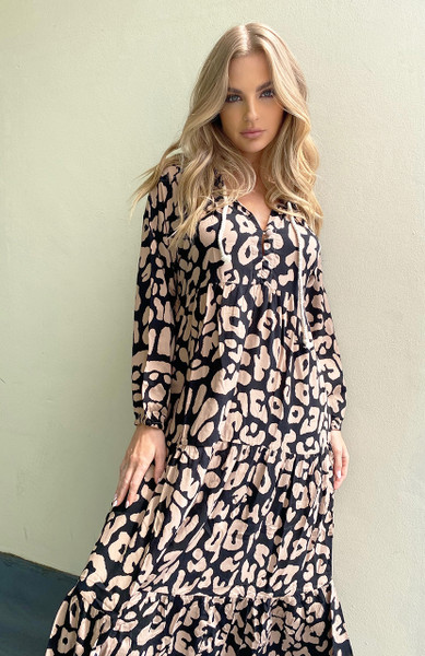 Cali Rope Maxi Dress - Blush Leopard