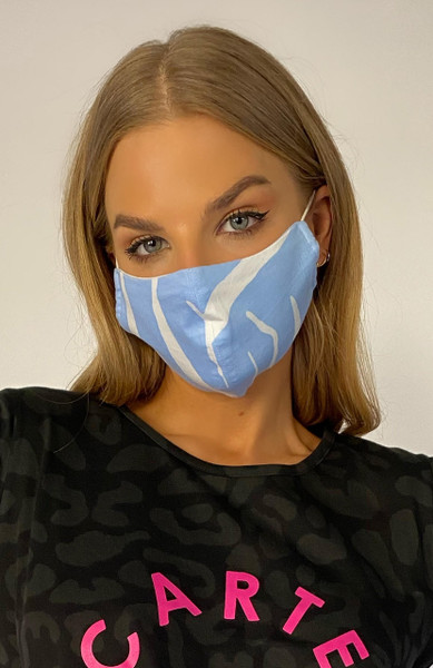 Face Mask - Blue Zebra