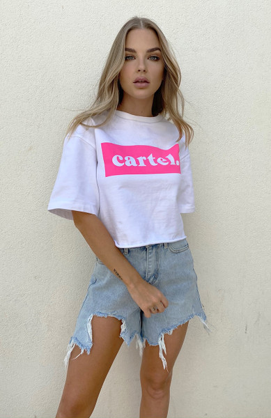 Cartel Tribe Logo Top - White / Pink