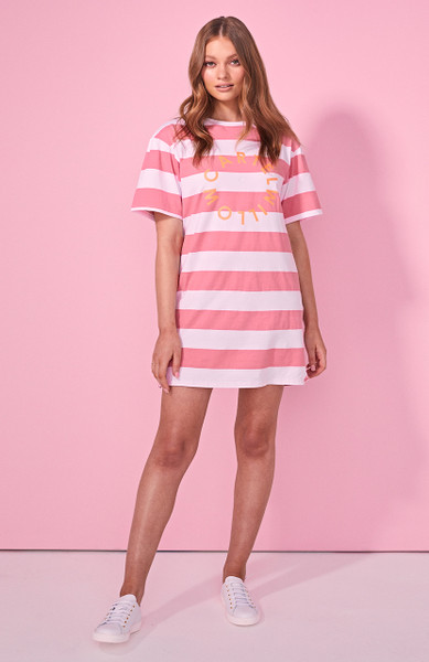 Sailor Tee Dress - Pink / White