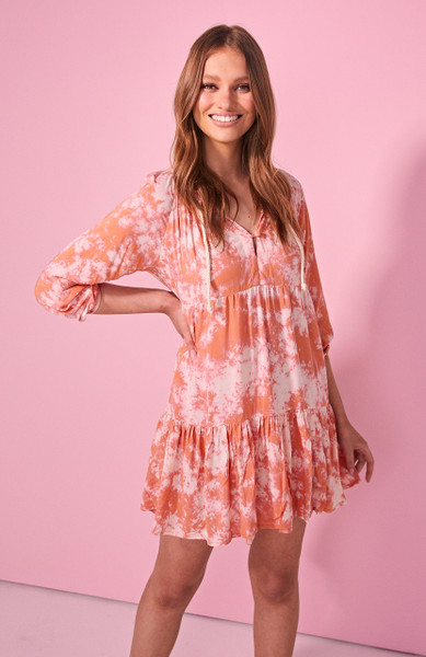 Cali Mini Dress - Orange Tie Dye