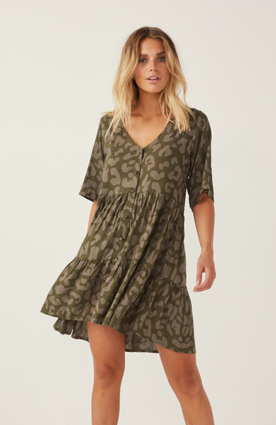 Farrah Mini Dress- Khaki Leopard