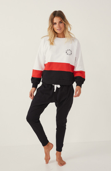 Splice Sweater - White / Red