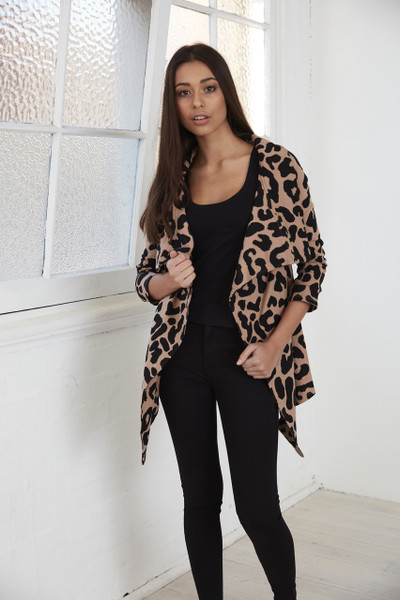 Carlin Cardigan - Blush Leopard