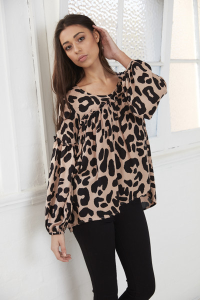 Gretel Gathered Shirt - Blush Leopard