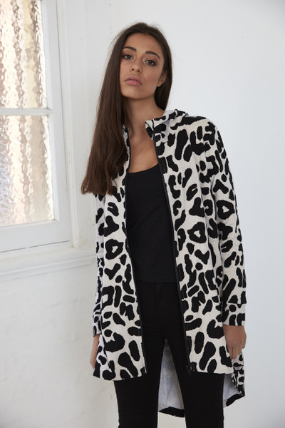 Ida Long Zip Up - Grey Marle Leopard
