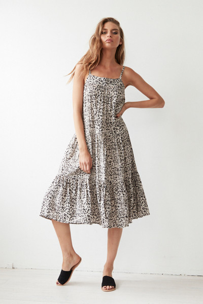 Avril Midi Sun Dress - Zulu Leopard
