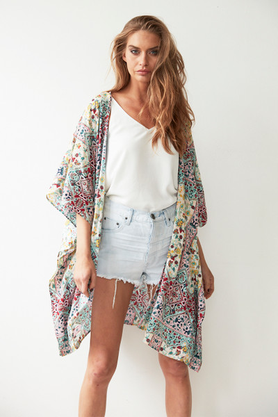 Palm Springs Kimono Cape - Seafoam Marrakesh