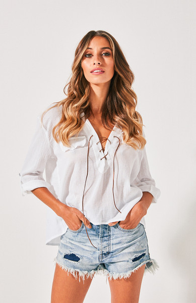 Malibu Crop Shirt - White Crinkle