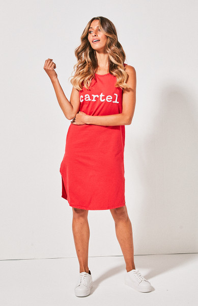 Cartel Beaded Tank Dress - Red