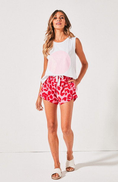 Kenji Track Shorts - Red & Pink Leopard