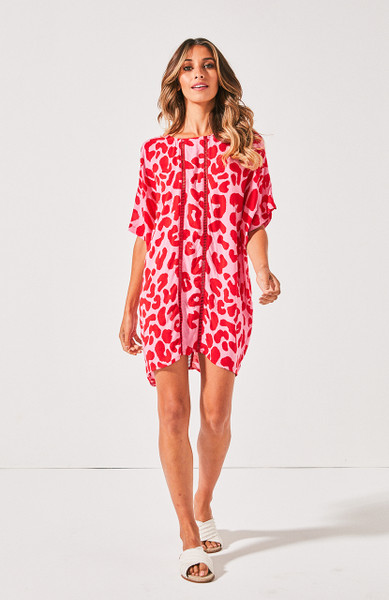 Venice Beach Tee Dress - Red & Pink Leopard