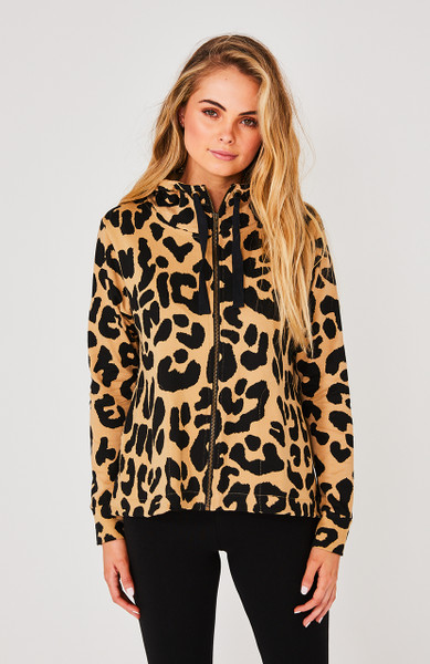 DION ZIP UP HOODIE - TAUPE LEOPARD