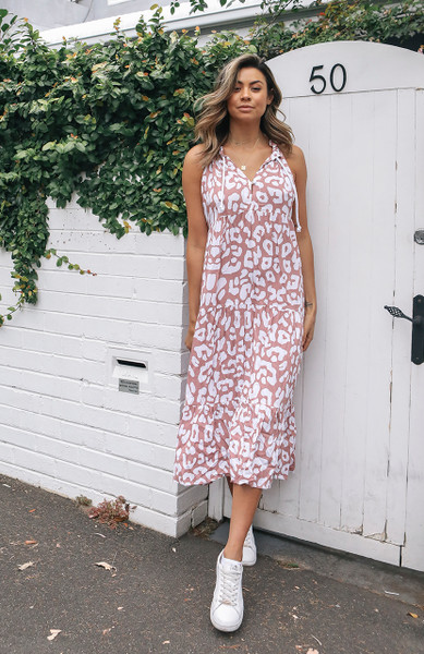 Sunday Maxi Dress - Blush Leopard