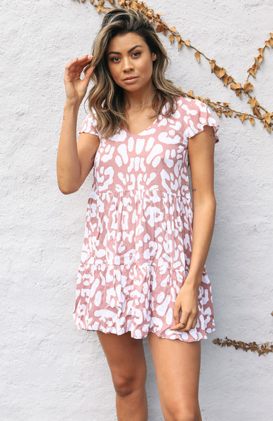 Vienna Mini Dress - Blush Leopard