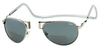 Clic Aviator in Silver Polarized Bi-Focal Reading Sunglasses