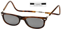 Clic Magnetic Sunglasses Ashbury-Wide in Tortoise w/ Grey Lens